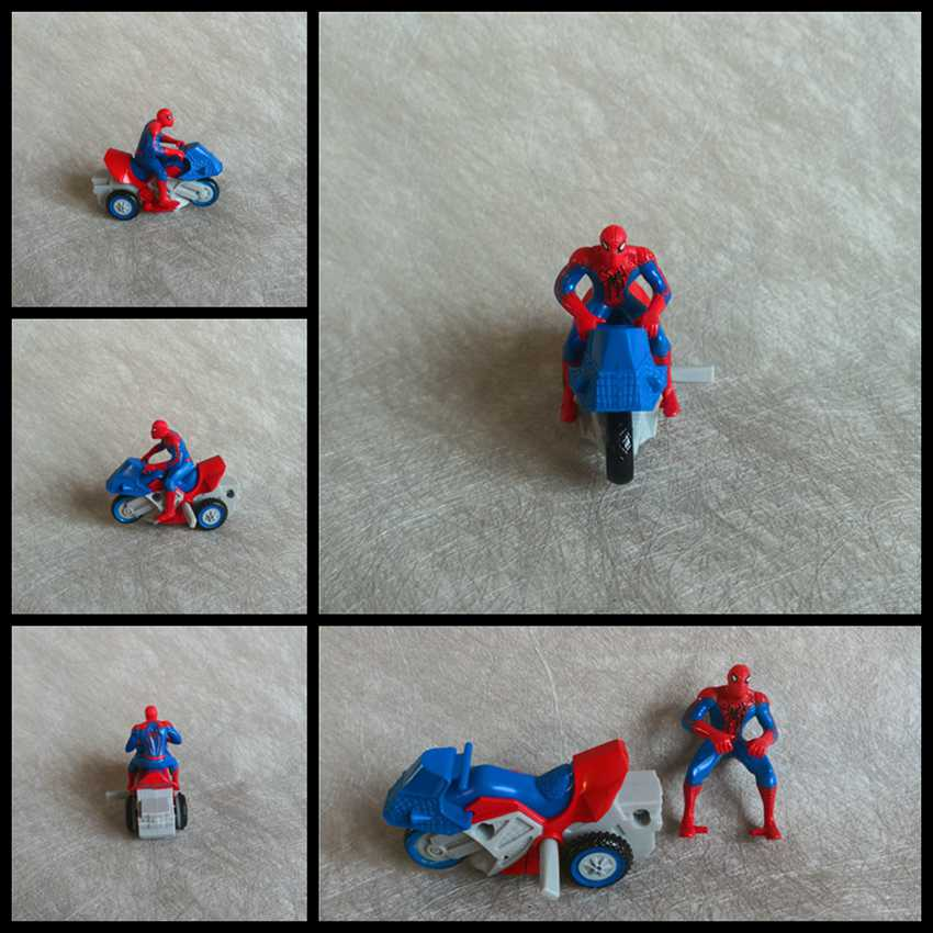 New Spider Man Ride Motorcycle PVC Mini Action Toy Figure Collectible Model Toys Doll for Fans Children Birthday Gifts Wholesale image