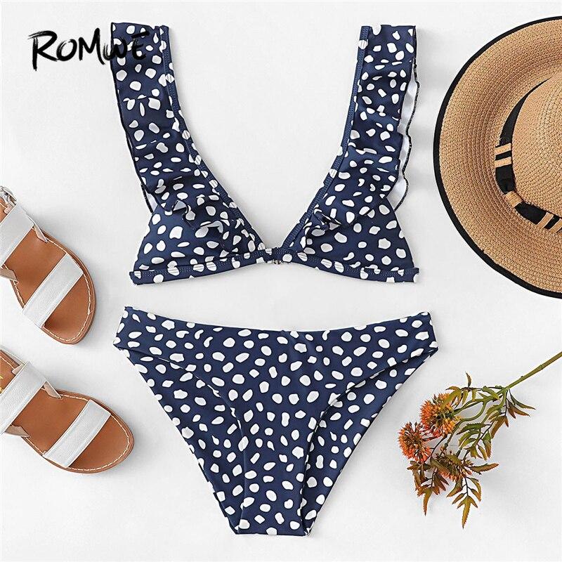 e211f2074171a Romwe Sport Dot Print Navy Ruffle Straps Sexy Deep V Neck Triangle Bikini  Set Women Summer