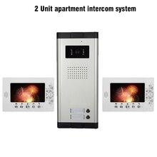2 Apartamento de 7 pulgadas LCD Video de La Puerta Sistema de Intercomunicación Teléfono 1 Cámara 2 Monitor de Sistema de Intercomunicación Para Los Apartamentos Portero Automático Intercom