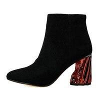 Nowa Moda Europejska i Amerykańska Czarna Matowa Skóra Mała Wskazówka w kształcie gęste Krótkie Buty dla Kobiet Strage i Popularne pięty