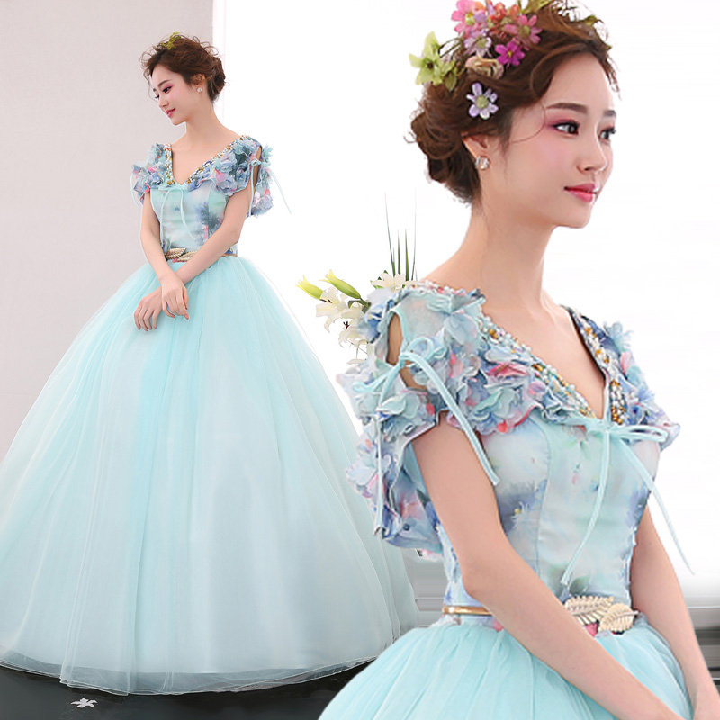 Freeship light blue flower printing beading fairy fancy ball gown Medieval Renaissance Gown Victorian Ball stage performance