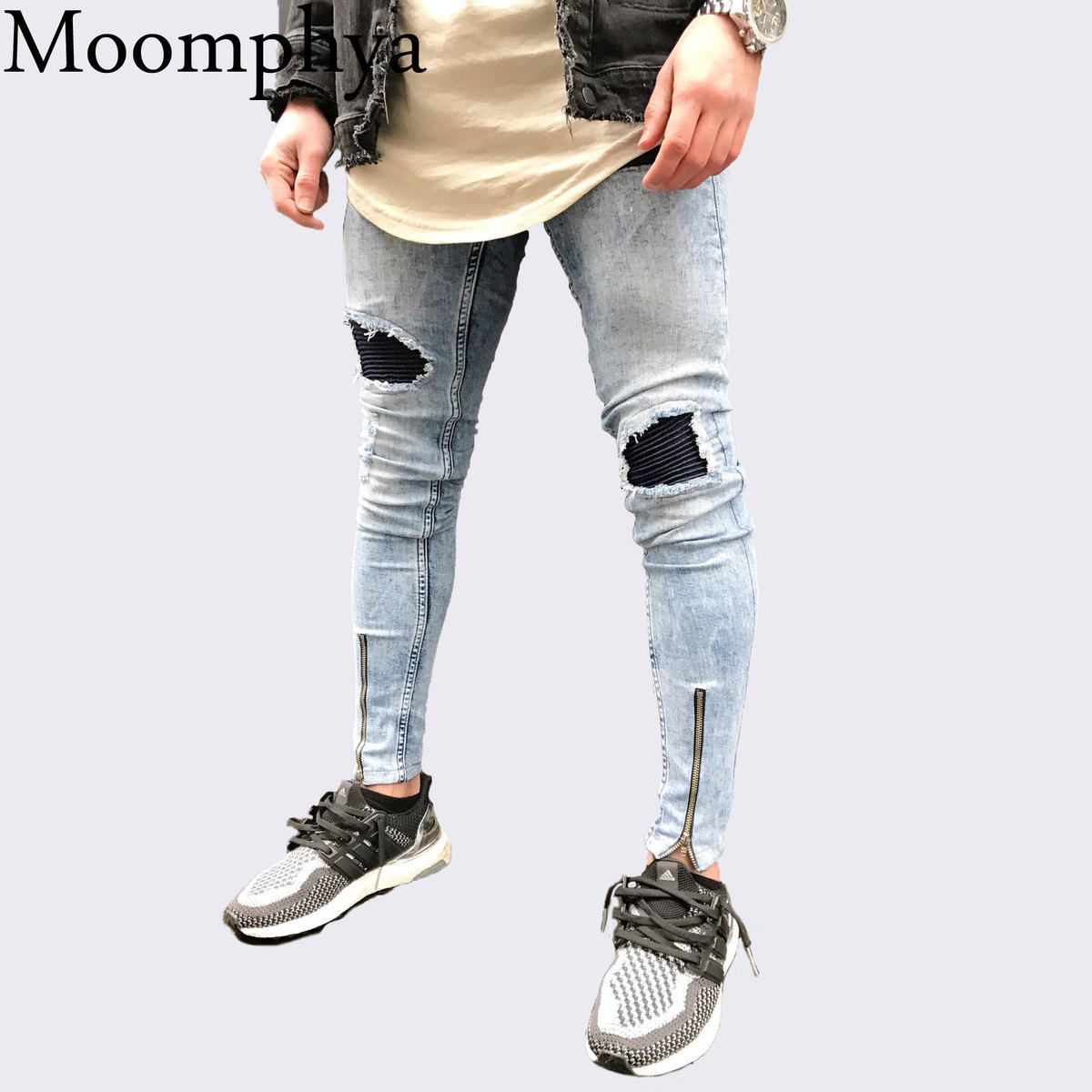 Moomphya 2018 New Men blue jeans Slim Fit hip hop jeans for men skinny biker jeans Distressed ripped holes zipper jeans