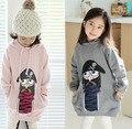 Frete grátis atacado primavera outono menina guarda cochilando estilo meio casaco de crianças que piratas encapuzados clothing