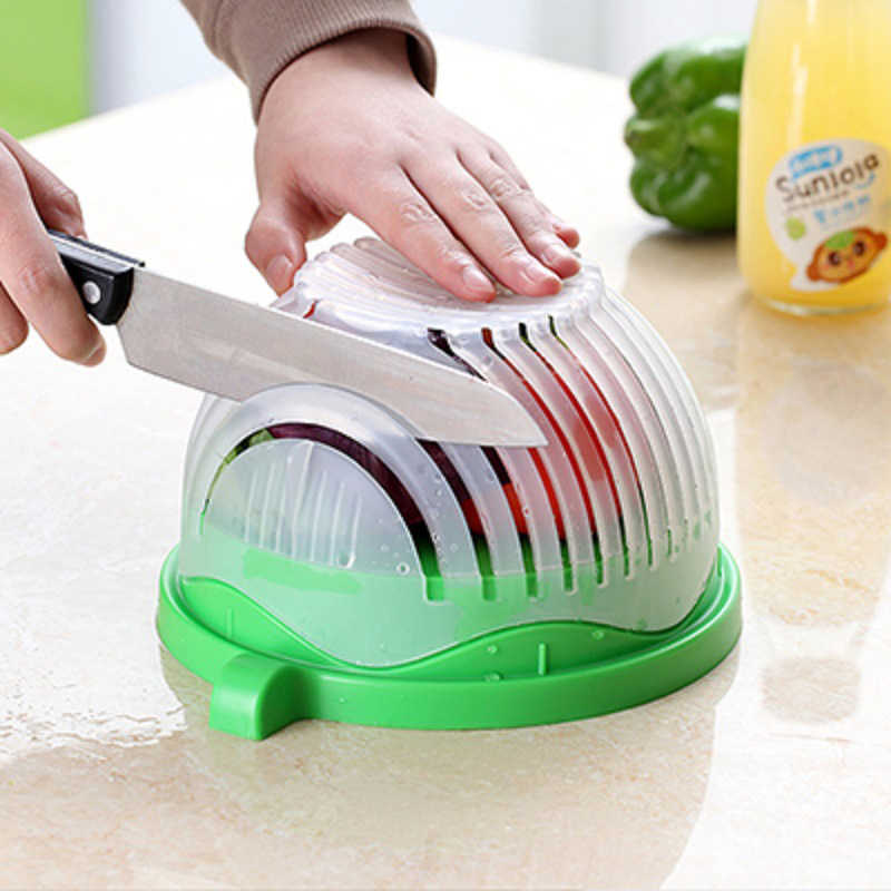 Quick Salad Cutter Bowl DIY Easy Salad Maker Vegetable Fruit Slicer Chopper Washing Strainer Wave Shaped Kitchen Gadget Tools