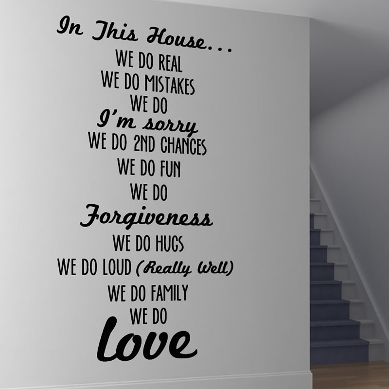 В этом доме стены Стикеры Правила Дома текст наклеить Гостиная Винил Съемный Home Decor Лидер продаж
