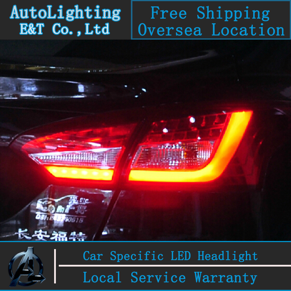 Auto lighting style led tail lamp for ford focus sedan led tail lights 2012 2014 drl rear trunk lamp cover signal brake reverse