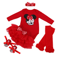 Infant Baby Clothing 4pcs sets Red Long Sleeve Rompers Red Tutu Skirt Ruffles Pettiskirt Shoes Headband Baby Girls Clothes