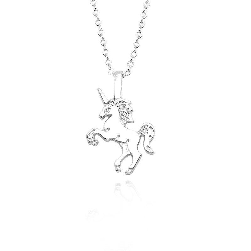Милое ожерелье с единорогами, модные украшения в виде лошади из мультфильма, аксессуары для девочек, детские, женские вечерние браслеты с подвеской в виде животного - Окраска металла: Small Necklac Silver