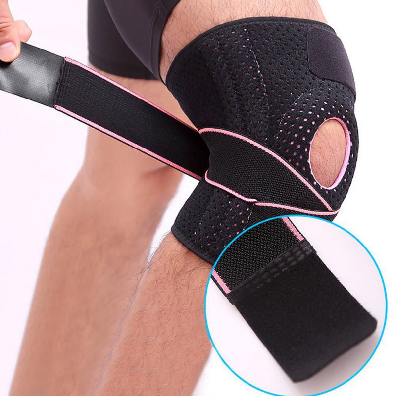 Four Spring Support Breathable Sports Knee Pads Brace Support Protect Knee Protector Knee Pad Adjustable Bi-Directional Straps