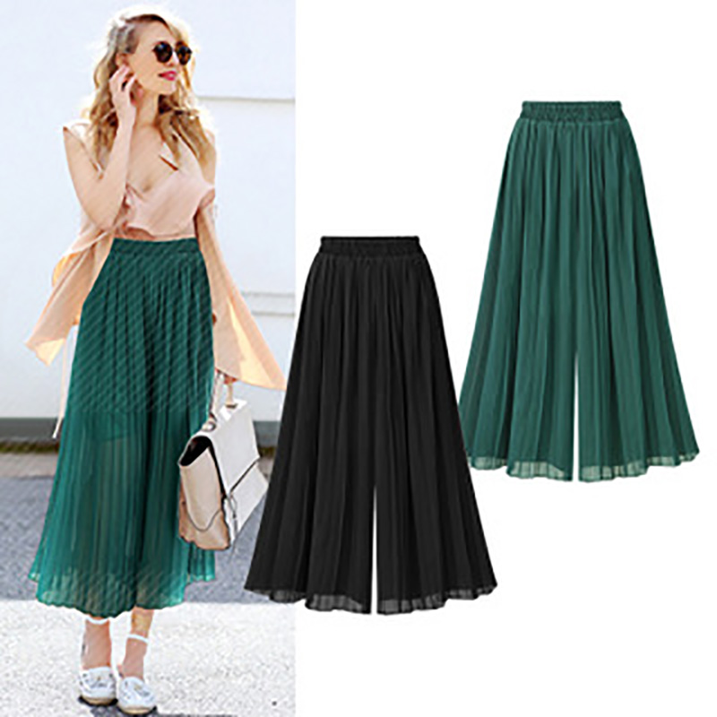Plus Size Chiffon   Pants   Women Pleated   Pant   Thin   Wide     Leg     Pant   Ankle Length   Wide  -Legged Trousers High Waist Casual Skirts   Pants