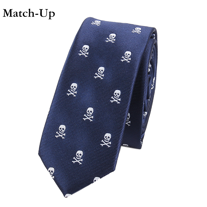 0022 Men's Ties & Handkerchiefs Strong-Willed Match-up Mens Cartoon Polyester Skull & Bicycle Ties 5cm