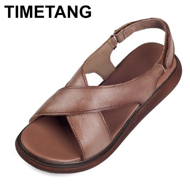 Sandales en cuir véritable de Style romain pour femmes, sandales pour femmes, été 2018, semelle épaisse, chaussures antidérapantes pour femmes