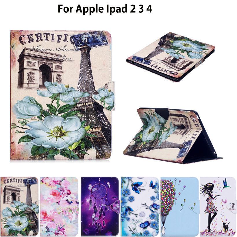 Tablet Case For Apple ipad 2 3 4 Cover For iPad4 iPad3 iPad2 Smart Cover Fashion Girl Cat Flip Stand PU Leather Skin Funda Coque