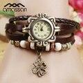 Genuine Leather Wristwatches Vintage Quartz Watches Four Leaf Clover Design Pendant Women Clock Lady Bracelet Lady Wristwatches