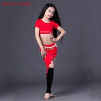 New Girls Stage Modal Belly Dance Clothes 2pcs top+skirt +Underwear For Girls Belly Dance Round neck Suit Ballroom Dance Suit
