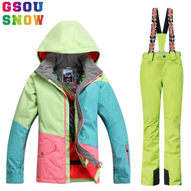 GSOU SNOW Brand Ski Suit Women Winter Ski Jacket Pants Waterproof Snowboard Jacket Pants Outdoor Mountain Skiing Suit Sport Coat saenshing ski suit women winter suit waterproof breathable women s snowboard jacket skiing pants for mountain skiing snow sets
