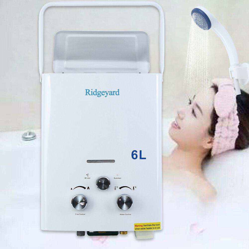 (Ship From US) Mini 6L 1.6GPM Portable Bath Propane Gas Outdoor Used Instant Tankless Hot Water Heater LPG Boiler CE W/ Shower