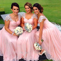 Модные 2017 Длинные Розовый Шифон Невесты Платья с Бисером Cap Рукава Свадебные Платья Партии для Maid of Honor Plu размер