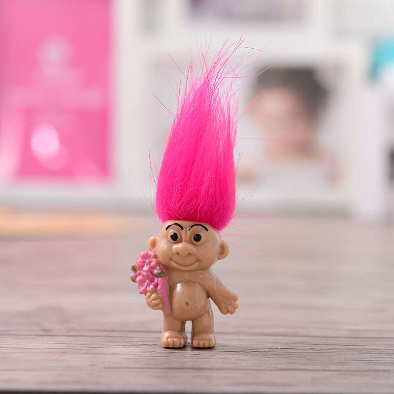 2018 Nuevo 8pcs / lot Colorful Hair Troll Doll Family Members Dad - Muñecas y accesorios - foto 5