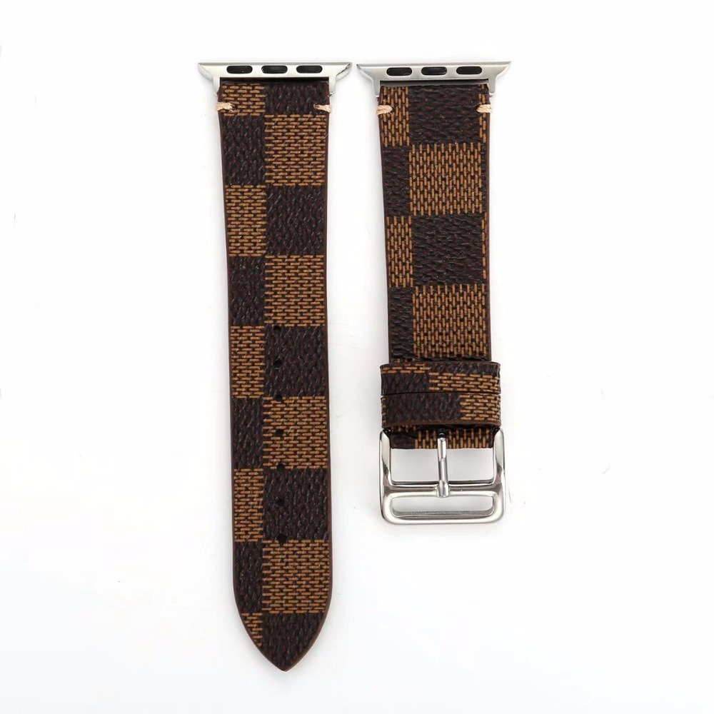 Plaid Watch Band Leather Strap for 38/40mm 42/44mm Apple Watch Series 4/3/2/1 iwatch Loop Belt Replacement I300. buckled belt detail plaid top