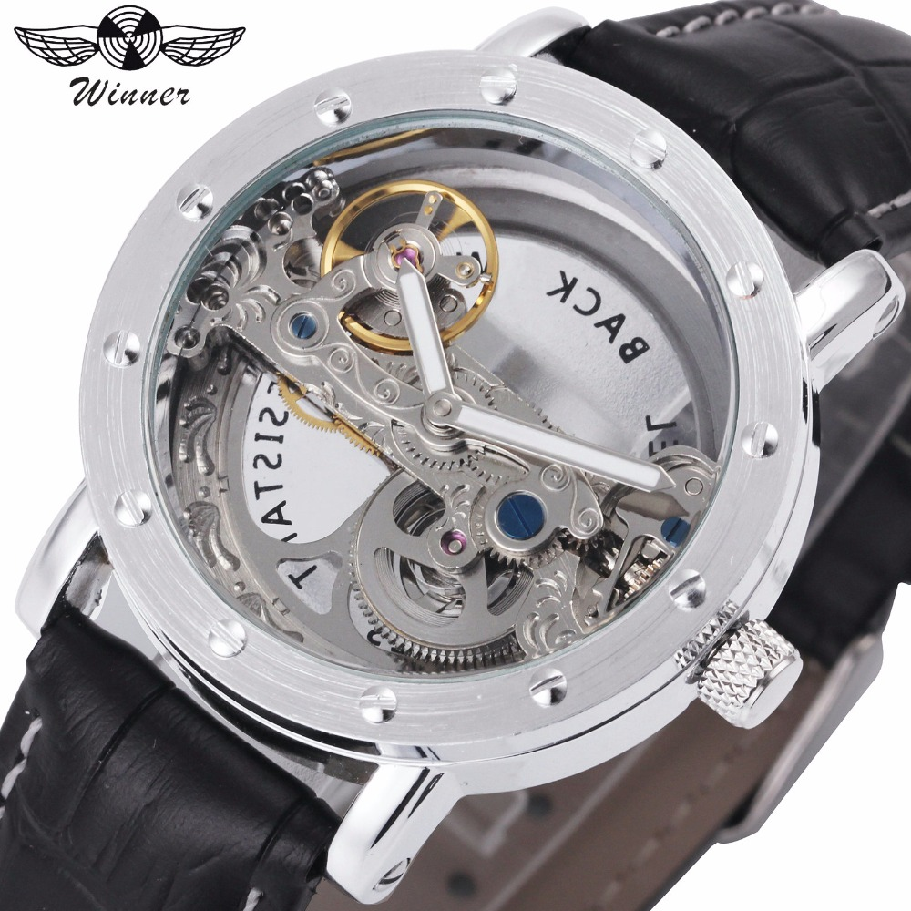 WINNER Classic Golden Bridge Mechanical Mens Watches Top Brand Luxury Carved Movement Leather Strap Fashion Wrist Watches 2018 все цены