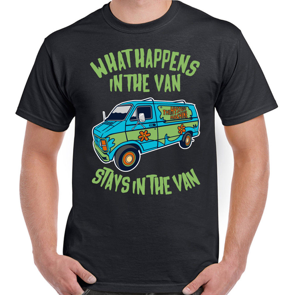 What Happens In The Van Stays in the van Mens Funny Scooby T-Shirt Doo Cartoon ...