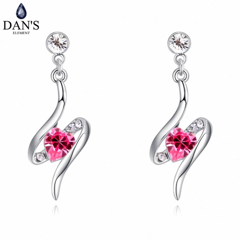 DANS 6 Colors Real Austrian crystals Stud earrings for women Earrings s New Sale Hot Round 129536