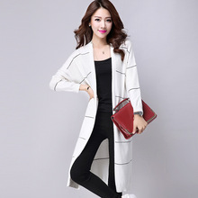 Cardigan 2015 New Casual Slim Ladies Maxi Striped Long Sleeve Knitwear Sweater Jumper M-XXXL Free shipping Y0925-75D1