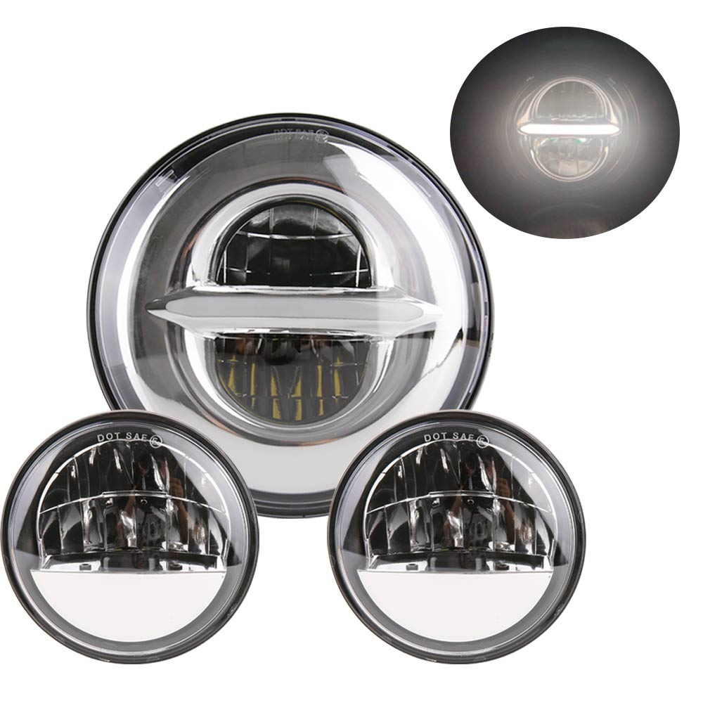 Headlight Harley Motorcycle Parts 7 LED Headlight + 4.5 4 1/2 inch Passing Lights For Harley Heritage Softail ClassicHeadlight Harley Motorcycle Parts 7 LED Headlight + 4.5 4 1/2 inch Passing Lights For Harley Heritage Softail Classic
