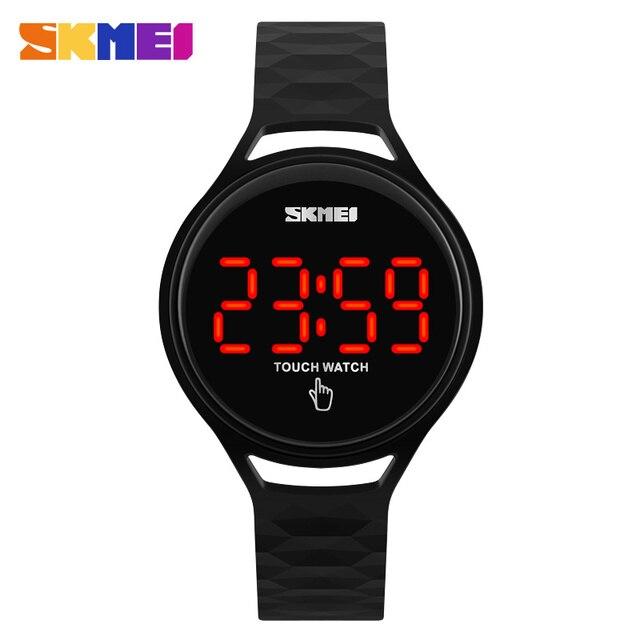 SKMEI Для женщин Часы Сенсорный экран светодиодный Дисплей PU ремешок женская мода Повседневное часы Для мужчин Цифровые наручные часы 30 м Водонепроницаемый 1230