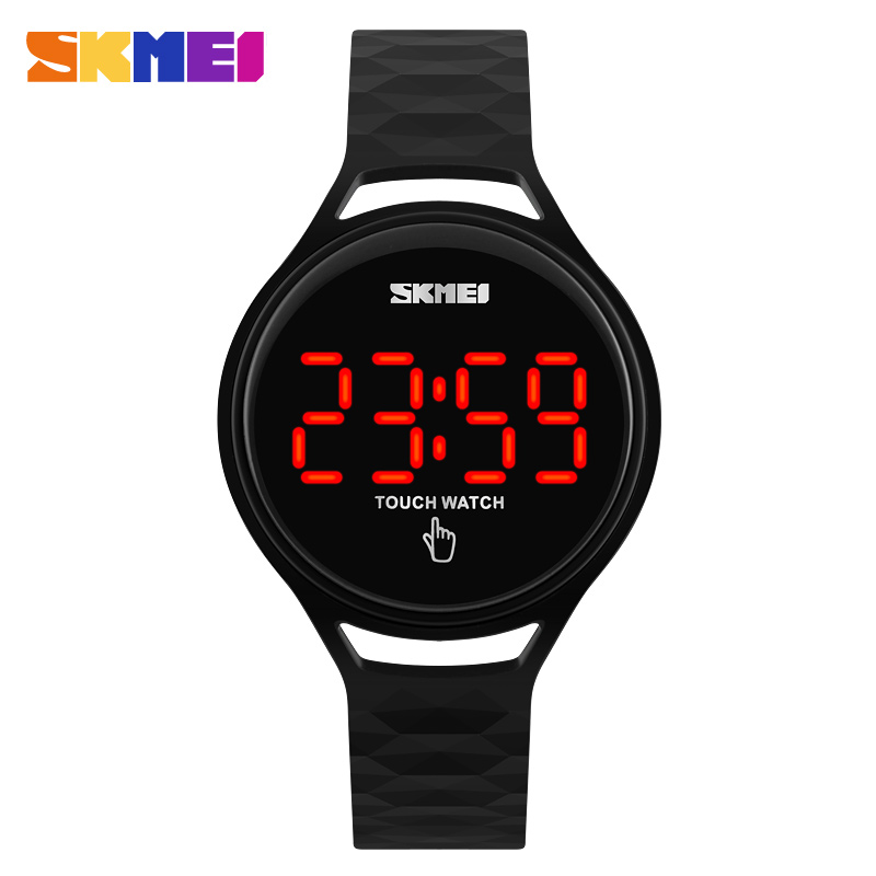SKMEI Dames Horloges Touchscreen LED-display PU-band Dames Mode Casual horloge Heren Digitale horloges 30 m Waterproof 1230