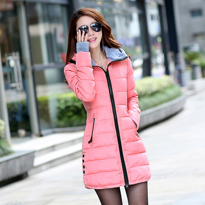 <font><b>2016</b></font> New Arrival Plus Size Slim Down Cotton Parks Women Medium Long Padded Winter Jacket Women Hot Sale Warm Hooded Coat WUJ0337 image