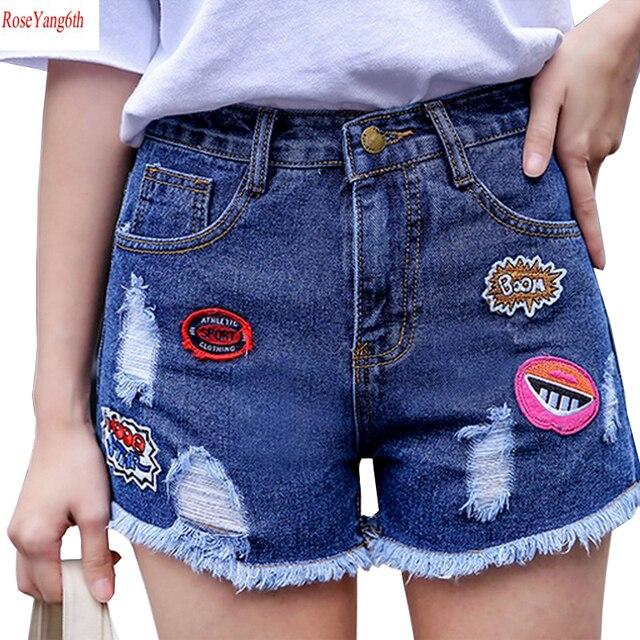 1808be474 2017 Nova Verão Sexy Shorts Curtos Buraco Solta Shorts Jeans Mulheres Calça  Jeans de Cintura alta