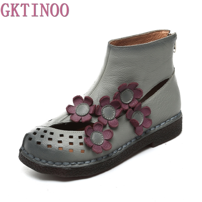 New Arrival 2018 Fashion Women Autumn And Summer Genuine Leather Boots Handmade Vintage Flower Ankle Botines Shoes Woman