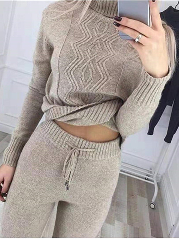Winter Women Sweater Suit And Sets Knit Pants 2PCS Tracksuit Autumn Female Knitted Trousers+Turtleneck Jumper Tops Clothing Sets