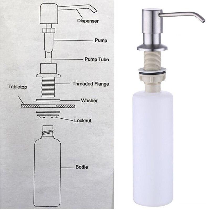 1Pcs Kitchen Large Capacity Threaded Bottle Soap Dispenser Sink Stainless Steel