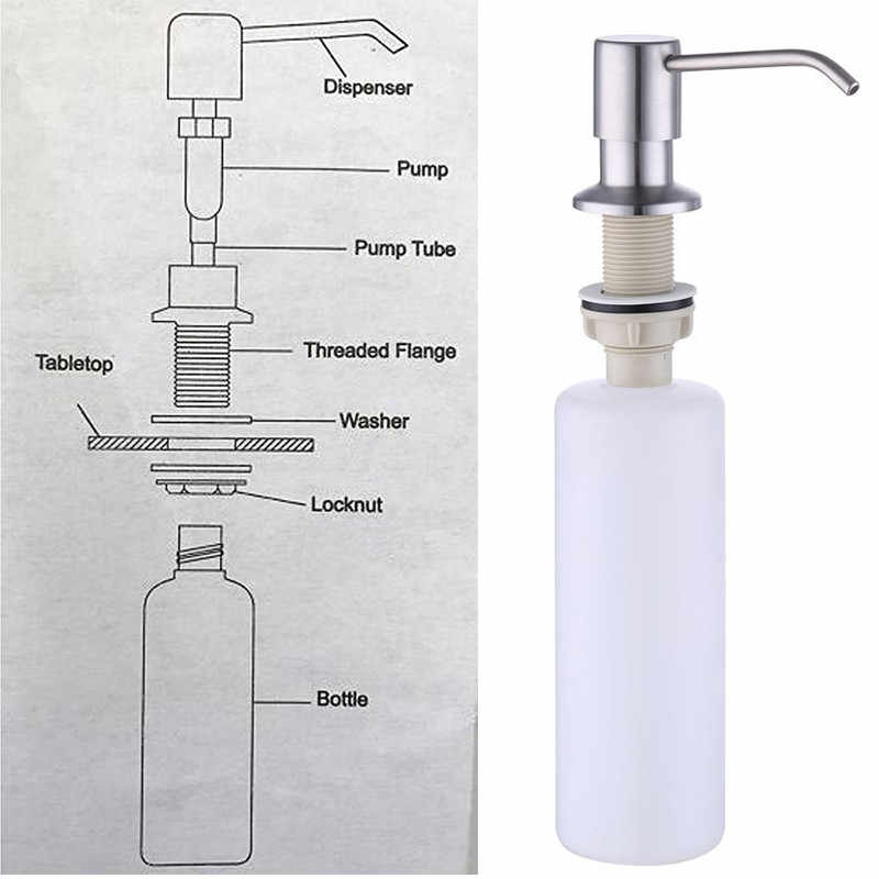 Modun 300 Ml Dapur Steel Sink Sabun Pompa Dapur Dispenser Sabun Wastafel Pembersih Dispenser Sabun Cair Rumah Sink Dispenser Sabun
