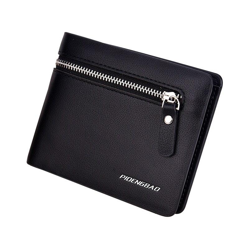 Male Purse Men Wallet Leather Card Coin Purse Handy Short Zipper High Quality Photo Dollar Price Fashion Male Wallet Portomonee