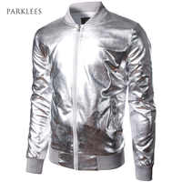 Baseball Jacket Men/Boy Shiny Silver Stand Collar Bomber Jackets Casual Slim Fit Lightweight Metallic Varsity Mens Jackets XXL