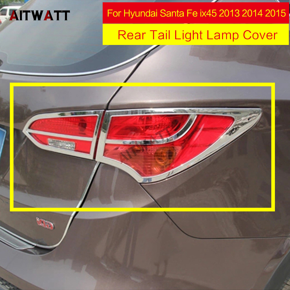Car Stickers ABS Chrome Rear Tail Light Lamp Cover Molding Trims Auto Accessories 2Pcs/set For Hyundai Santa Fe ix45 2013-2015