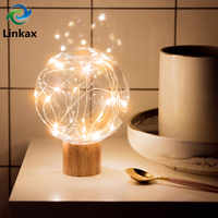 Modern LED Warm White Fairy Star Globe Night Light Wood+PET Retro USB 5V Desk Table Decoration Lights Bedside Lamp