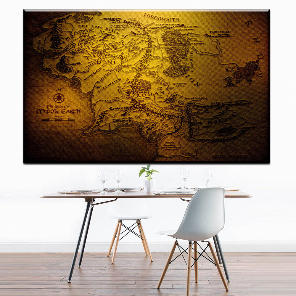 Zz1742 Middle Earth Map On Lord Of The Rings Vintage Movie Paper