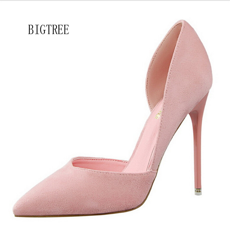 Women Pumps Fashion Sexy High Heels Shoes Women Pointed Toe Thin Heel Ladies Wedding -5191
