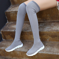 2019 Autumn and Winter New Socks Shoes Thigh Stretch Boots High Tube Long Knee Boots Women Flat Bottom