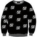 DELEGATE Black White 100 Letter Printed Women Sweatshirt 2016 New Women Casual Pullover Tops Clothes Emoji Sweatshirt 42-44 Size