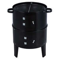 Portable 3 in 1 Charcoal Vertical BBQ Grill Roaster Steel Water Steamer Barbecue Grills Meat Burn Cooking Tools Set Black