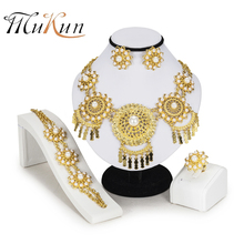 MUKUN Nigerian Wedding African Beads Jewelry Set Brand bridal jewelry sets Woman Fashion Dubai Gold Color Jewelry Set Wholesale цена в Москве и Питере