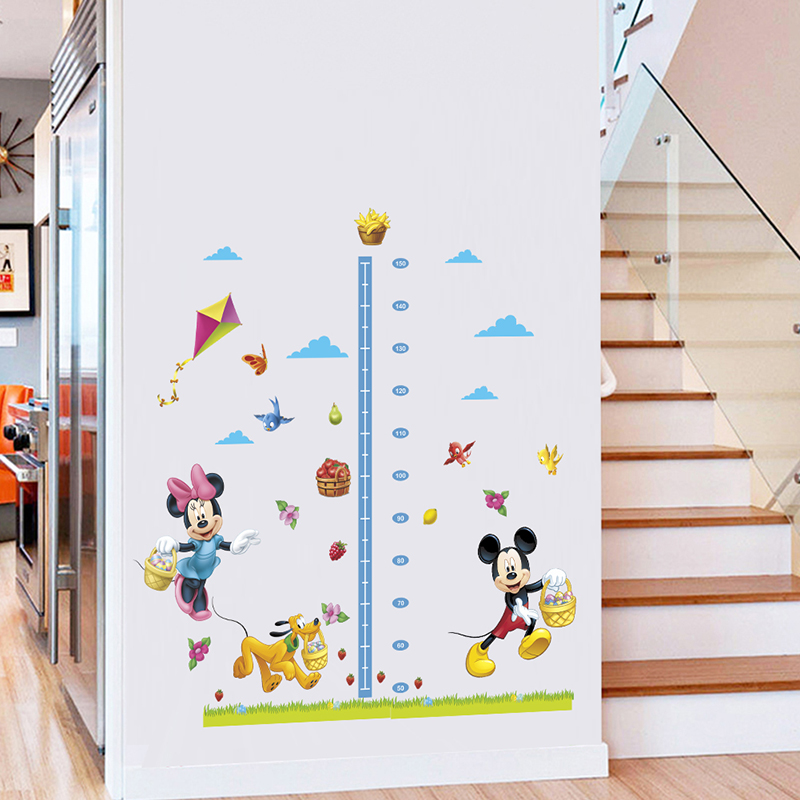 Minnie Mickey Growth Chart Height Measure Wall Sticker For Kids Nursery Rooms Decoration Accessories Home PVC Mural DIY Decor