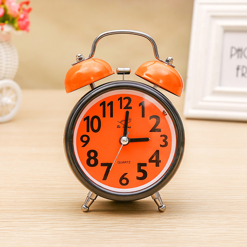 Silent Round Double Bell Candy Student Alarm Clock Electronic Digital Children Creative Small Mute Table Clock Desktop Clock