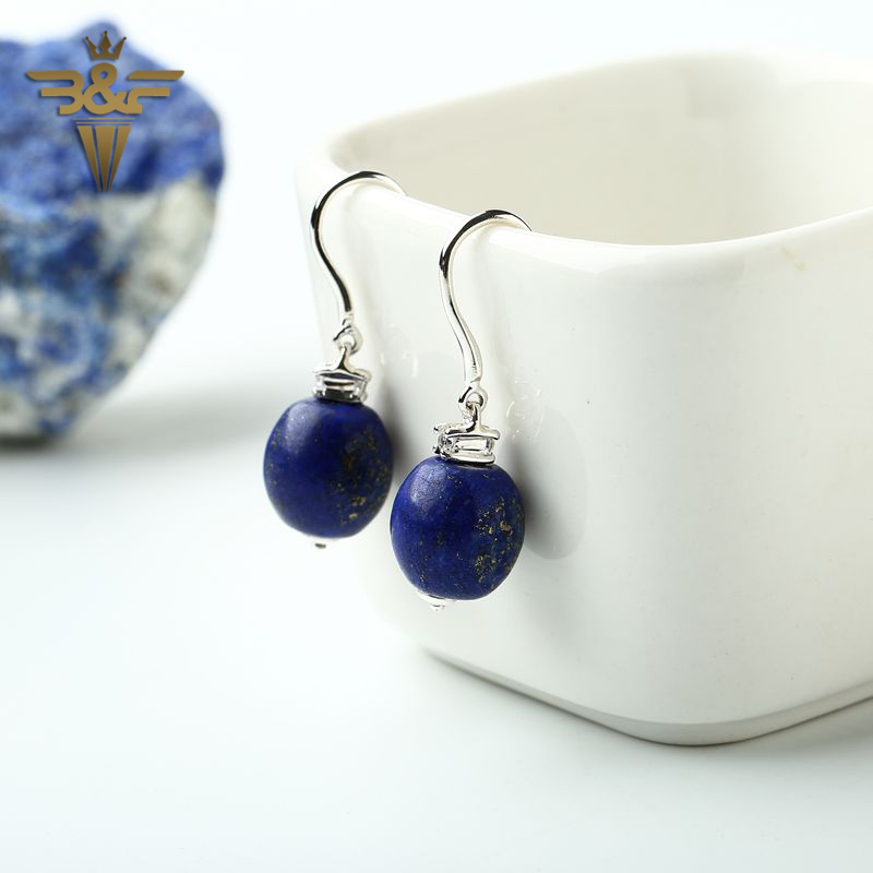 Sterling Silver bead drop Lapis Lazuli Earrings 15x9x9mm 4.92g Natural Stone For Women beauty Gift Silver Earrings jewelry